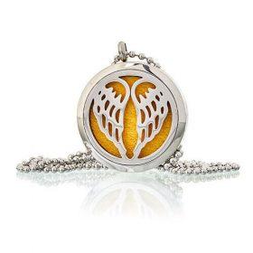 Medalion cu lănțișor pentru aromaterapie – aripi de înger