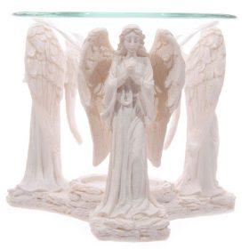 Figurină cu Îngeri – Suport pentru arderea uleiurilor esențiale (alb)