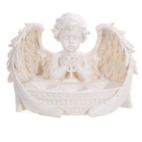 Înger care se roagă – suport 3 lumânări (alb)